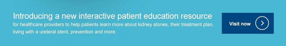 Introducing a new interactive patient education resource  for healthcare providers to help patients learn more about kidney stones, their treatment plan, living with a ureteral stent, prevention and more.